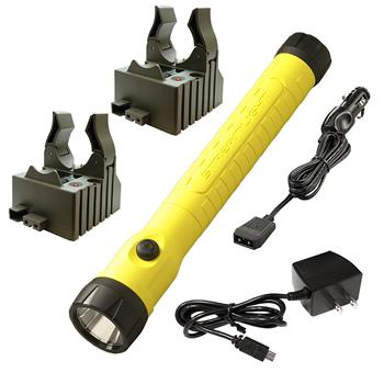 Yellow Streamlight PolyStinger® LED HAZ-LO® Rechargeable Flashlight with AC/DC charge cords and two bases